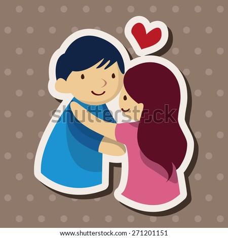 Valentines Day Theme Love Couple Cartoon Stock Illustration