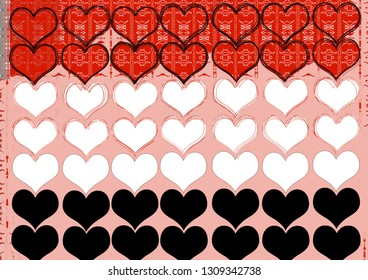 valentine's day themed pattern, red, black and white colors heart, design for kids, boy and girls, decor, baby shower, mikey mause