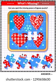 Valentine's Day themed picture riddle with four hearts jigsaw puzzle: What's Missing? Can you spot the missing peace of jigsaw puzzle? Answer included.