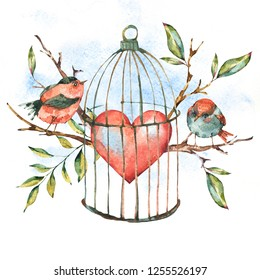 Valentines day watercolor natural greeting card with birds, tree twig, heart, leaves and cage, isolated vintage illustration, cute design elements