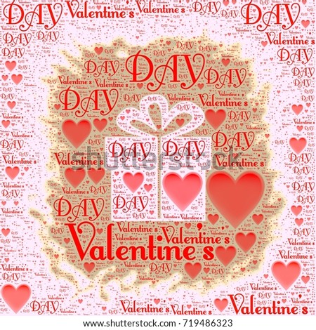 Valentines Day Words Gift Box Illustration Stock Illustration