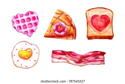 Valentine's food and dessert watercolor illustration, pastel cookies, crape, bread, breakfast.