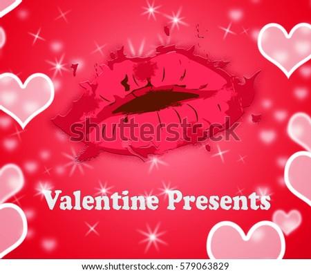 Valentines Presents Lips Shows Happy Valentine Stock Illustration