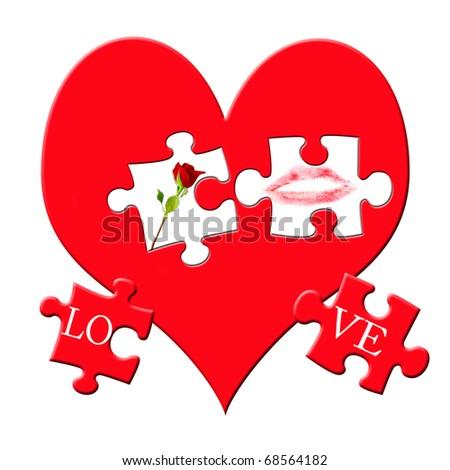 Valentines Puzzle Love Symbols On Big Stock Illustration 68564182