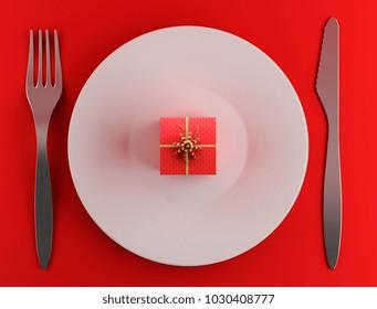 Valentnes day gift on plate 3d illustration