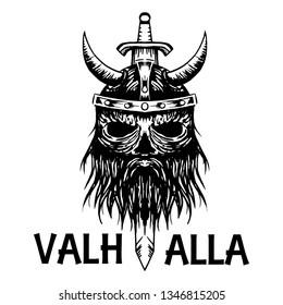 Valhalla symbol of Scandinavian ancient Viking head  icon