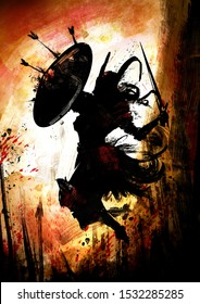 Valkyrie in horned helmet with shield and sword attacks in jump  against the background of a yellow sunset and an army with spears.  2D illustration .
