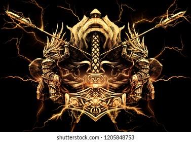 Valkyrie shrouded in Golden lightning