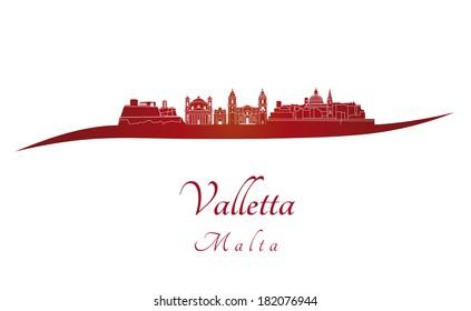 Valletta skyline in red