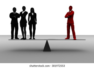 Valuable team leader on balance with a team. A team of three successful executives stands on a balance where the counterweight is the team leader.