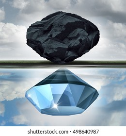 Valuation vision seeing the possibilities of value opportunity as a wealth financial visualization concept as a rock or coal making a reflection of a precious diamond with 3D illustration elements.