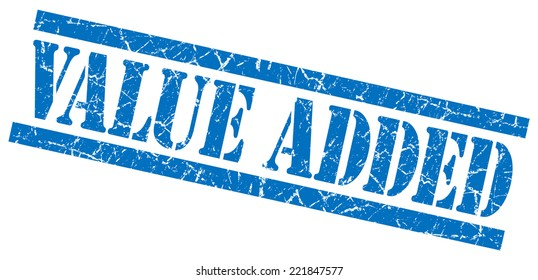 value added blue square grunge textured isolated stamp