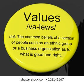 Values Definition Button Shows Principles Virtue And Morality