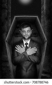 Vampire in coffin. Halloween concept. Gothic concept. Horror concept.