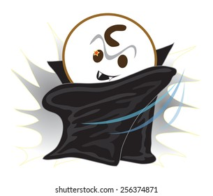 Vampire Halloween have star eye and black devil, He is pantomime, Cartoon vector character design cute and funny background white color.