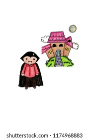 vampire and haunted house art,background,beautiful,boy,card,cartoon,character,characters,children,colorful,cute,design,drawing,female,flower,fun,girl,happy,haunted house,illustration,isolated,pattern,
