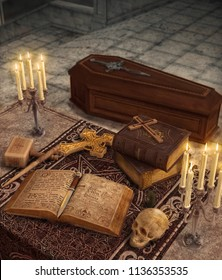 Vampire hunter items and artifacts on an altar with an coffin in the background, 3d render illustration