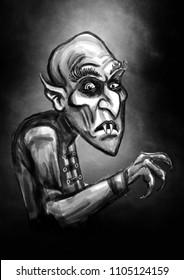 Vampire illustration. Dracula or count Orlok from nosferatu