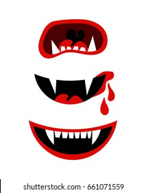 Vampire mouth with fangs. halloween horror teeth isolated on white background