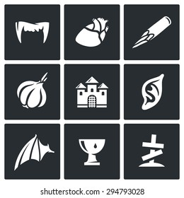 Vampires and means against them icons set. Isolated Flat Icons collection on a black background for design