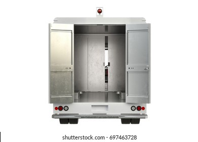 Van car open door, back view. 3D rendering