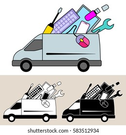 Van delivery of mobile computer repair service and equipment. Isolated, flat, side view illustration, and black and white versions