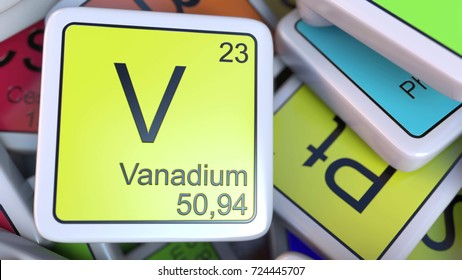 Vanadium block on the pile of periodic table of the chemical elements blocks. Chemistry related 3D rendering