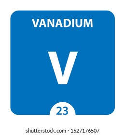 Vanadium Chemical 23 element of periodic table. Molecule And Communication Background. Vanadium Chemical V, laboratory and science background. Essential chemical minerals and micro elements