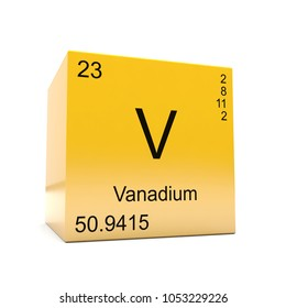 Vanadium chemical element symbol from the periodic table displayed on glossy yellow cube 3D render