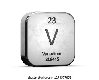 Vanadium element from the periodic table series icons. Metallic icon 3D rendered on white background
