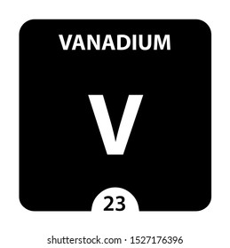 Vanadium symbol. Sign Vanadium with atomic number and atomic weight. V Chemical element of the periodic table on a glossy white background. Experiments in the laboratory. science ant technology