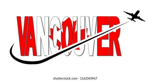 Vancouver flag text with plane silhouette and swoosh illustration