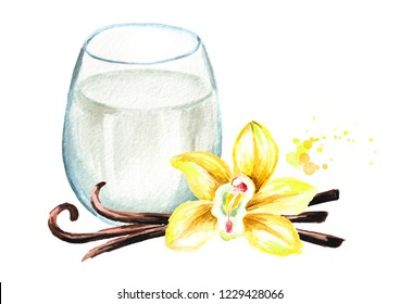 Vanilla milkshake with flower and pods. Watercolor hand drawn illustration  isolated on white background