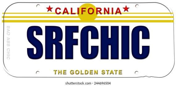 vanity plate surfer chic girl license plate california