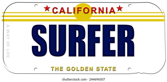 vanity plate surfer license plate california