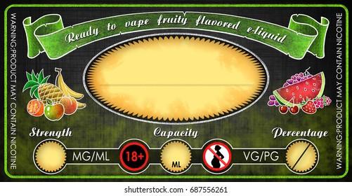 vape e-cigarettes universal template label for bottle vial with fruity flavored  e-liquid juice diy