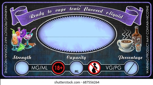 vape e-cigarettes universal template label for bottle vial with tonic flavored  e-liquid juice diy