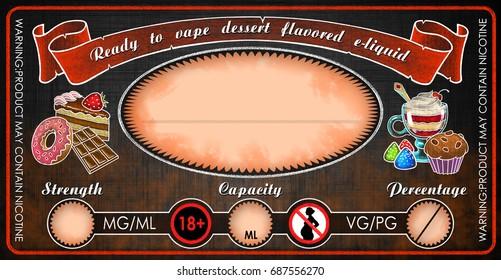 vape e-cigarettes universal template label for bottle vial with dessert flavored  e-liquid juice diy
