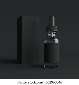 Vape liquid bottle with label and box on black background. 3d rendering