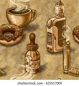 Vape seamless pattern with box mod, mechanical mod, rda, rba, eliquid, juice, steam, a cup of coffe and donut