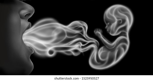 Vaping and pregnancy as a prenatal health risk as a person exhaling steam smoke or vapor shaped as a human unborn fetus from an electronic cigarette in a 3D illustration style.