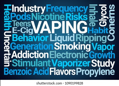 Vaping Word Cloud on Blue Background