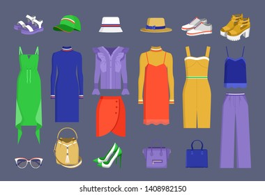 Lot of varied colorful stuff raster illustration isolated on dark backdrop hats and caps dresses shirts skirt handbags shoes sunglasses