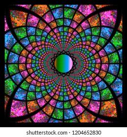 varied neon colored kaleidoscope framed in black