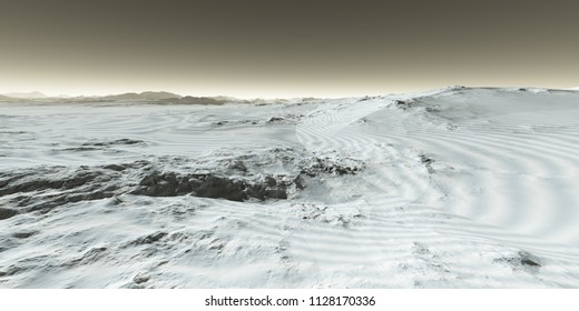 Variegated seasonal bands of frozen CO2 and water ice at Martian pole - 3D Illustration