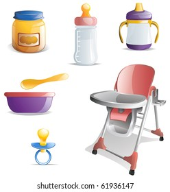 Variety of baby feeding icons including baby food, bottle, sippy cup, bowl and spoon, high chair and bib