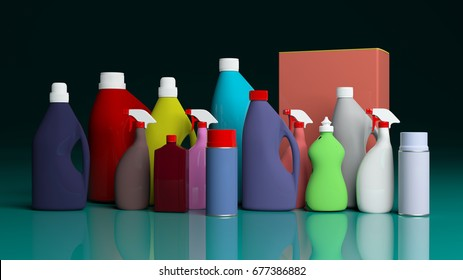 Variety of cleaning products packages on green-blue surface. 3d illustration