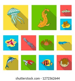 A variety of marine animals flat icons in set collection for design. Fish and shellfish bitmap symbol stock web illustration.