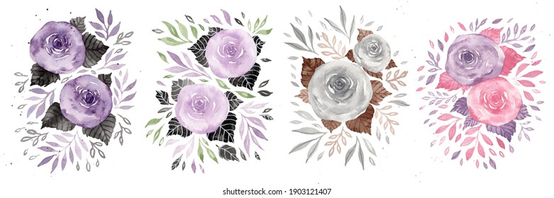 Variety of Roses Water Colour Painting for Decoration Set