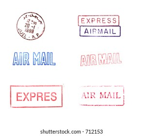 A variety of rubber stamps relating to mailing